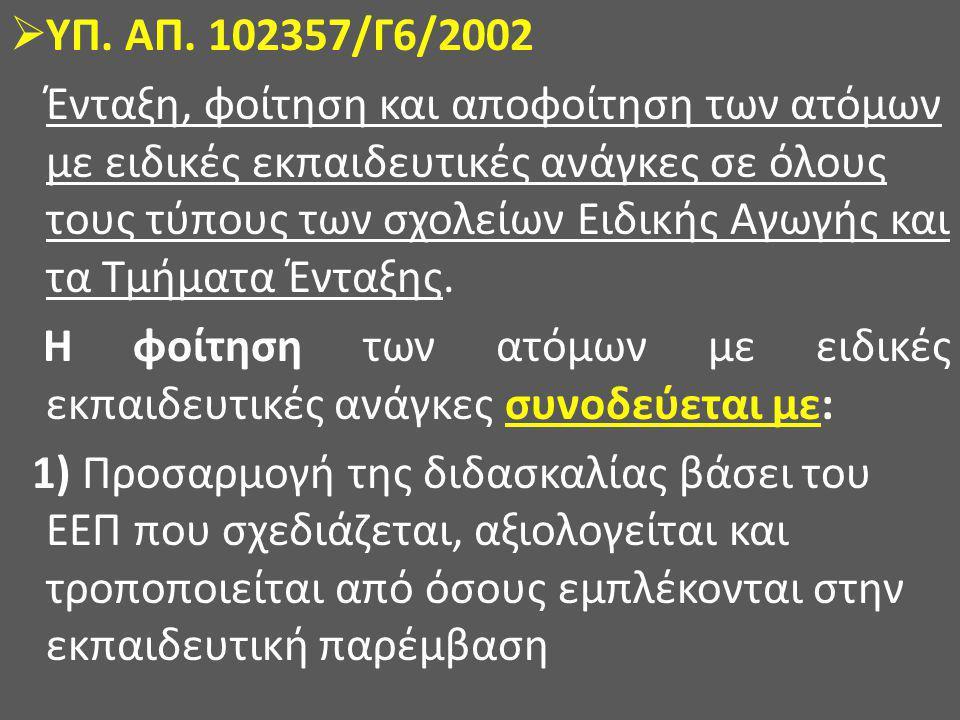  ΥΠ. ΑΠ. 102357/Γ6/2002 Ένταξη, φοίτηση και αποφοίτηση των ατόμων με ειδικές εκπαιδευτικές ανάγκες σε όλους τους τύπους των σχολείων Ειδικής Αγωγής κ