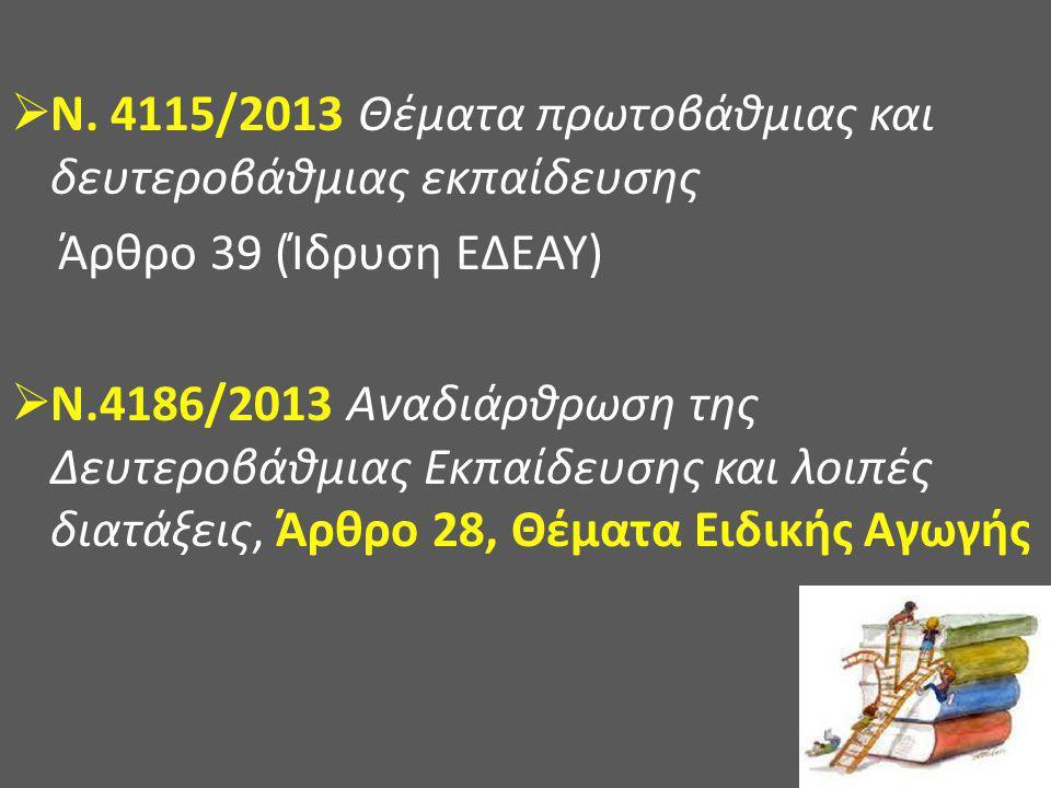  Ν. 4115/2013 Θέματα πρωτοβάθμιας και δευτεροβάθμιας εκπαίδευσης Άρθρο 39 (Ίδρυση ΕΔΕΑΥ)  Ν.4186/2013 Αναδιάρθρωση της Δευτεροβάθμιας Εκπαίδευσης κα
