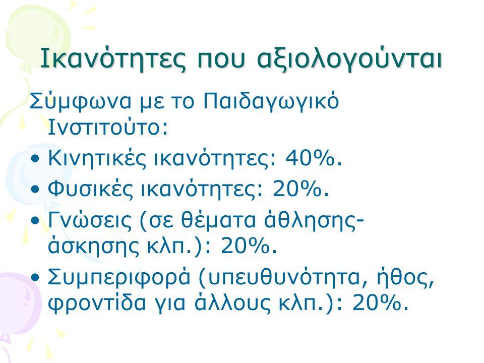Ικανότητες που αξιολογούνται Σύμφωνα με το Παιδαγωγικό Ινστιτούτο: •Κινητικές ικανότητες: 40%. •Φυσικές ικανότητες: 20%. •Γνώσεις (σε θέματα άθλησης-