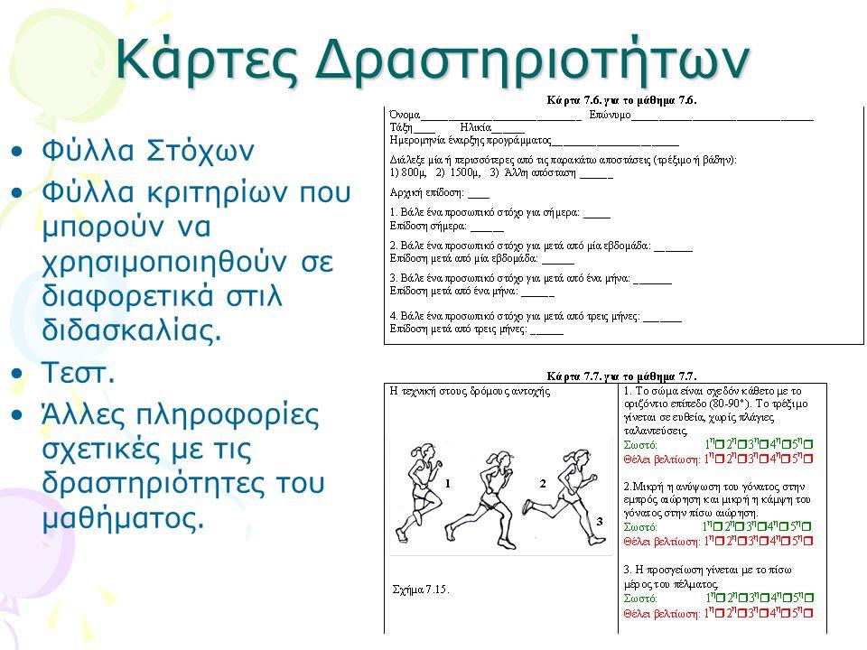 Κάρτες Δραστηριοτήτων •Φύλλα Στόχων •Φύλλα κριτηρίων που μπορούν να χρησιμοποιηθούν σε διαφορετικά στιλ διδασκαλίας. •Τεστ. •Άλλες πληροφορίες σχετικέ