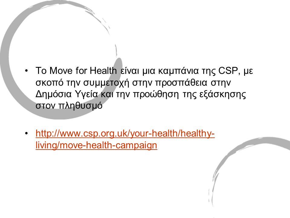 •Το Move for Health είναι μια καμπάνια της CSP, με σκοπό την συμμετοχή στην προσπάθεια στην Δημόσια Υγεία και την προώθηση της εξάσκησης στον πληθυσμό