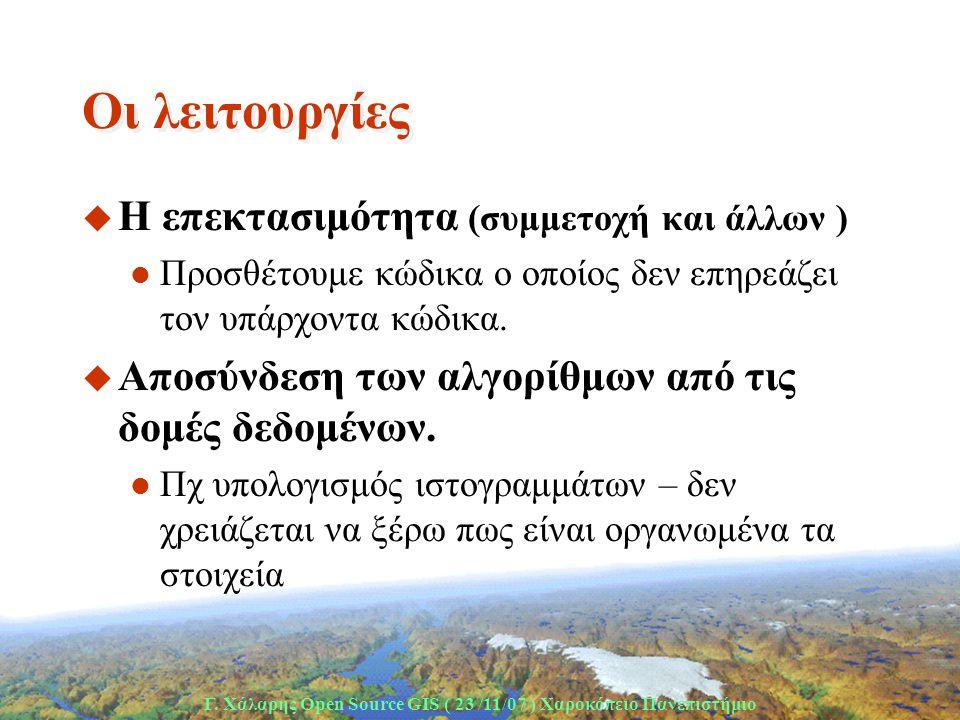Γ. Χάλαρης Open Source GIS ( 23 /11/07 ) Xαροκόπειο Πανεπιστήμιο Oι λειτουργίες u H επεκτασιμότητα (συμμετοχή και άλλων )  Προσθέτουμε κώδικα ο οποίο