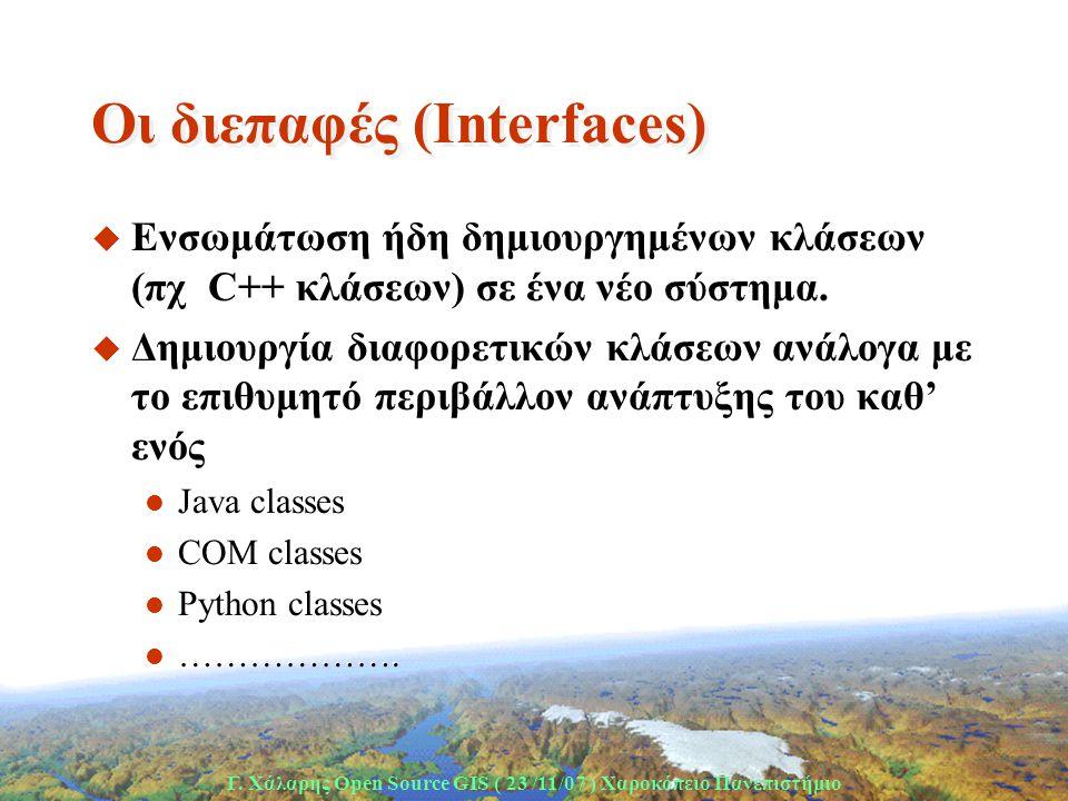 Γ. Χάλαρης Open Source GIS ( 23 /11/07 ) Xαροκόπειο Πανεπιστήμιο Οι διεπαφές (Ιnterfaces) u Ενσωμάτωση ήδη δημιουργημένων κλάσεων (πχ C++ κλάσεων) σε