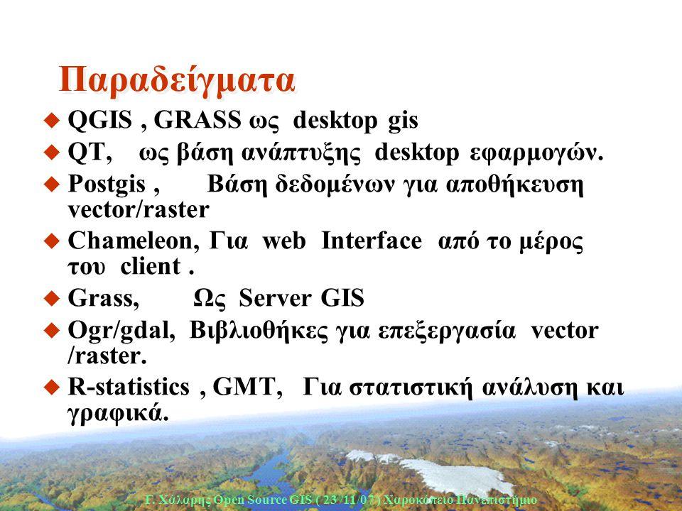 Γ. Χάλαρης Open Source GIS ( 23 /11/07 ) Xαροκόπειο Πανεπιστήμιο Παραδείγματα u QGIS, GRASS ως desktop gis u QT, ως βάση ανάπτυξης desktop εφαρμογών.