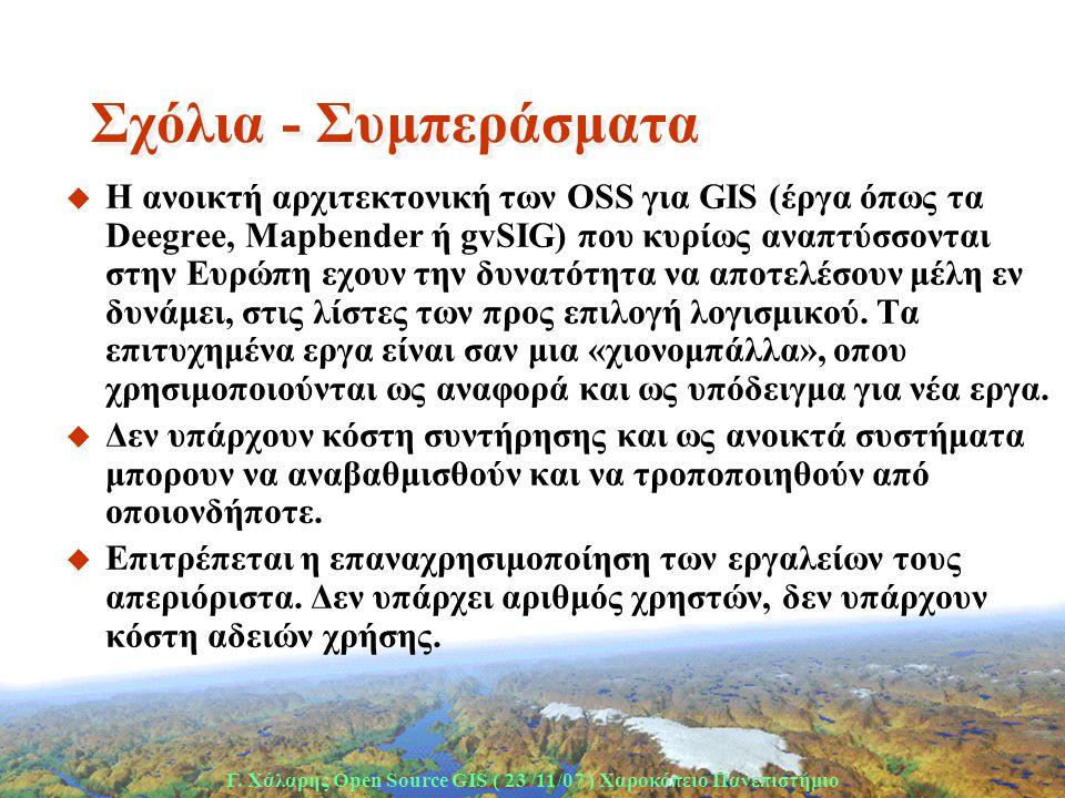 Γ. Χάλαρης Open Source GIS ( 23 /11/07 ) Xαροκόπειο Πανεπιστήμιο Σχόλια - Συμπεράσματα u H ανοικτή αρχιτεκτονική των OSS για GIS (έργα όπως τα Deegree