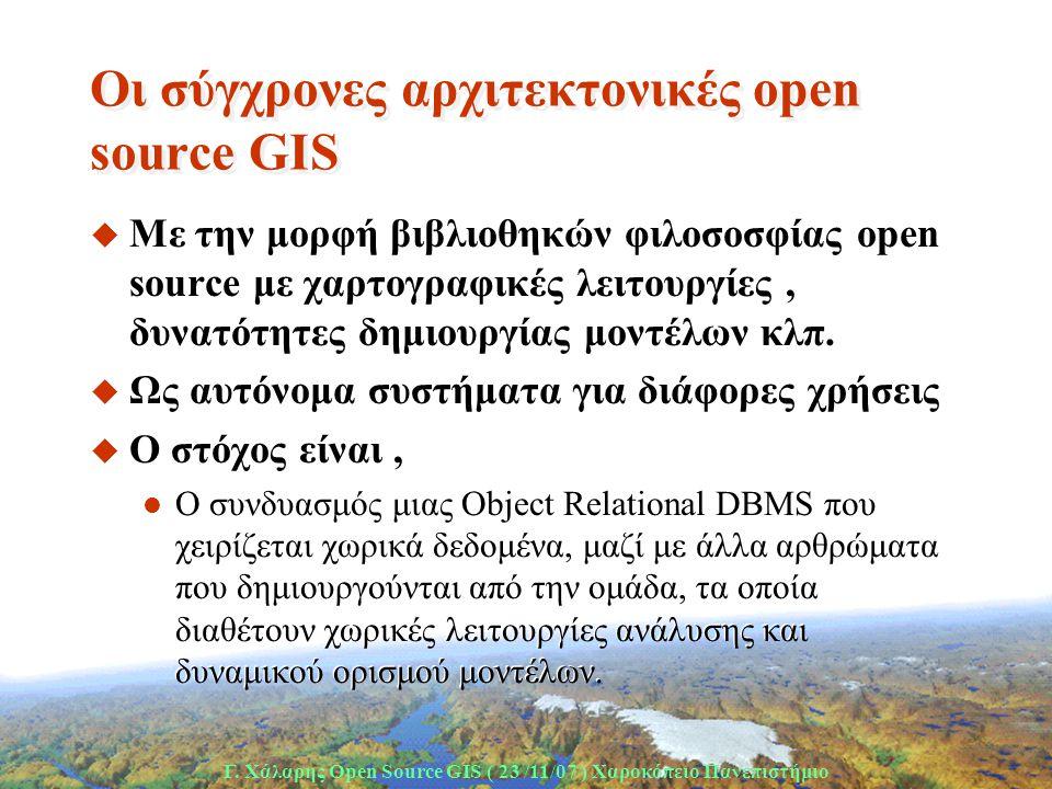 Γ. Χάλαρης Open Source GIS ( 23 /11/07 ) Xαροκόπειο Πανεπιστήμιο Οι σύγχρονες αρχιτεκτονικές open source GIS u Με την μορφή βιβλιοθηκών φιλοσοσφίας op