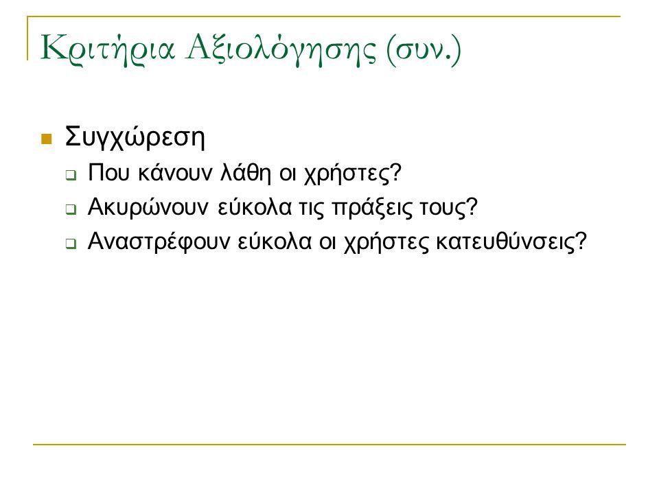 Κριτήρια Αξιολόγησης (συν.)  Συγχώρεση  Που κάνουν λάθη οι χρήστες.