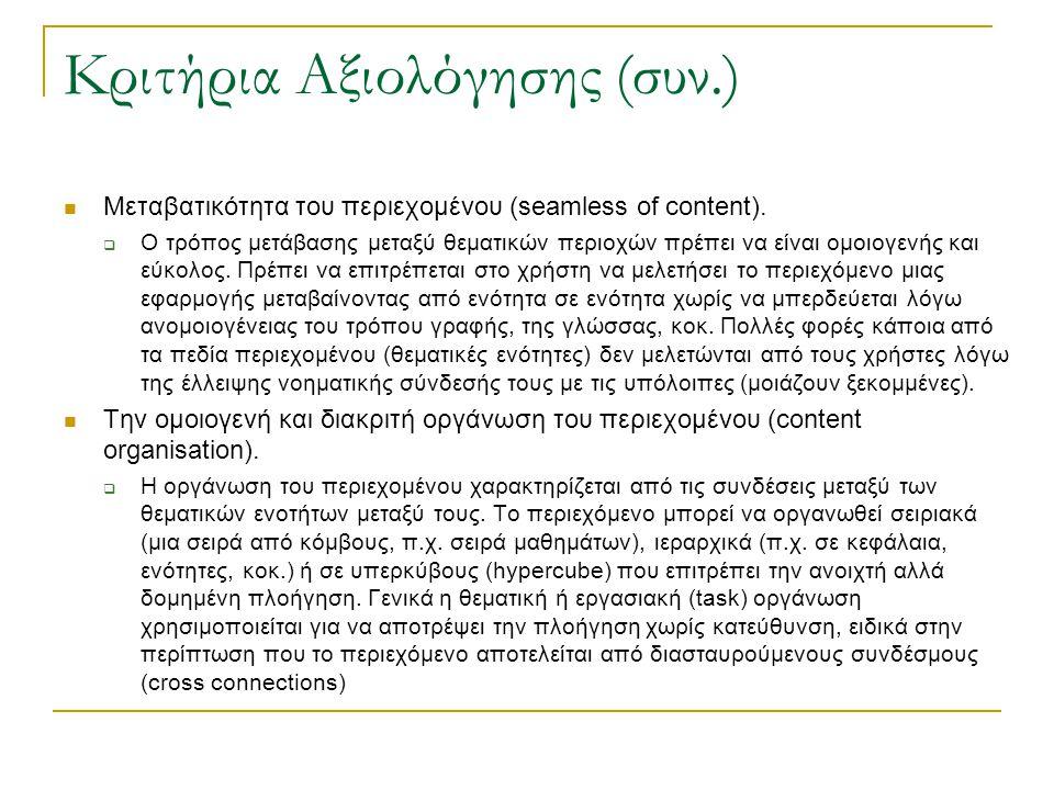 Κριτήρια Αξιολόγησης (συν.)  Μεταβατικότητα του περιεχομένου (seamless of content).