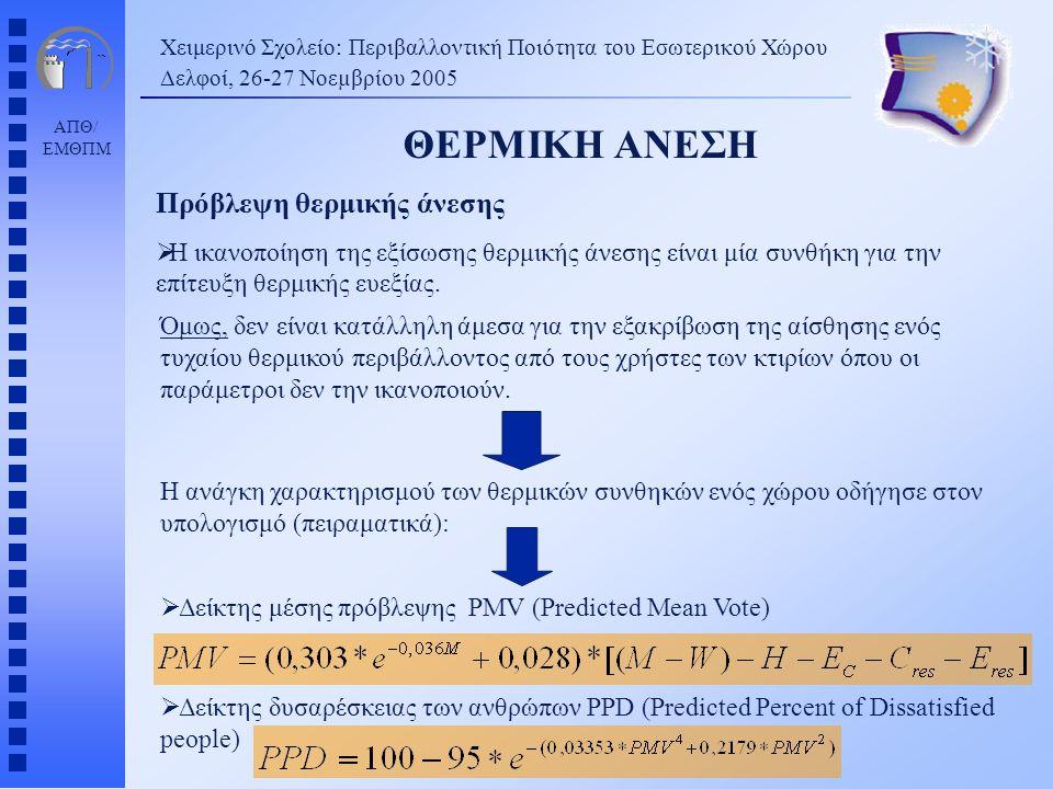 ΑΠΘ/ ΕΜΘΠΜ Χειμερινό Σχολείο: Περιβαλλοντική Ποιότητα του Εσωτερικού Χώρου Δελφοί, 26-27 Νοεµβρίου 2005 ΘΕΡΜΙΚΗ ΑΝΕΣΗ Πρόβλεψη θερμικής άνεσης  Η ικα
