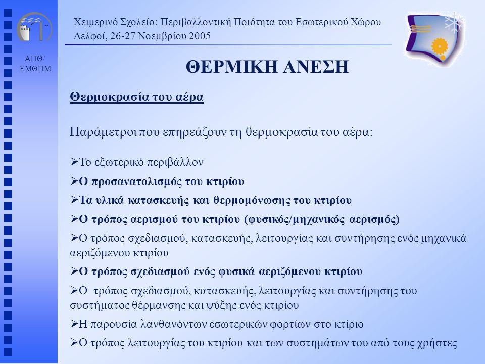 ΑΠΘ/ ΕΜΘΠΜ Χειμερινό Σχολείο: Περιβαλλοντική Ποιότητα του Εσωτερικού Χώρου Δελφοί, 26-27 Νοεµβρίου 2005 ΘΕΡΜΙΚΗ ΑΝΕΣΗ Θερμοκρασία του αέρα Παράμετροι