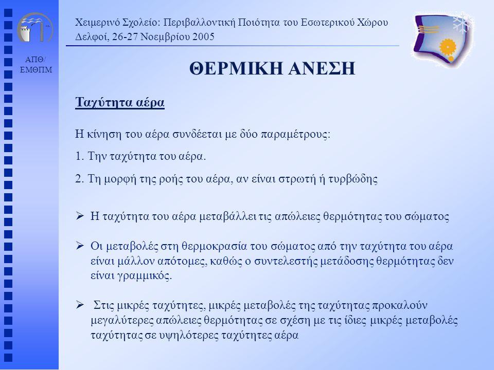 ΑΠΘ/ ΕΜΘΠΜ Χειμερινό Σχολείο: Περιβαλλοντική Ποιότητα του Εσωτερικού Χώρου Δελφοί, 26-27 Νοεµβρίου 2005 ΘΕΡΜΙΚΗ ΑΝΕΣΗ Η κίνηση του αέρα συνδέεται με δ