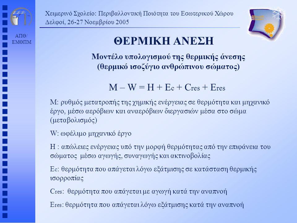 ΑΠΘ/ ΕΜΘΠΜ Χειμερινό Σχολείο: Περιβαλλοντική Ποιότητα του Εσωτερικού Χώρου Δελφοί, 26-27 Νοεµβρίου 2005 M – W = H + E c + C res + E res M: ρυθμός μετα