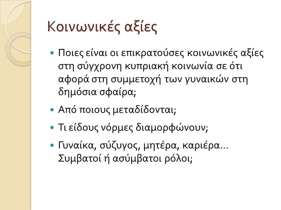 Κοινωνικές αξίες  Ποιες είναι οι επικρατούσες κοινωνικές αξίες στη σύγχρονη κυπριακή κοινωνία σε ότι αφορά στη συμμετοχή των γυναικών στη δημόσια σφα