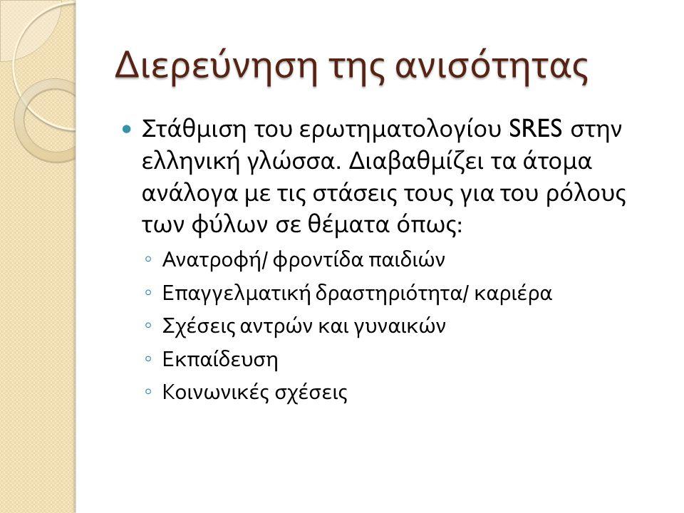 Διερεύνηση της ανισότητας  Στάθμιση του ερωτηματολογίου SRES στην ελληνική γλώσσα. Διαβαθμίζει τα άτομα ανάλογα με τις στάσεις τους για του ρόλους τω
