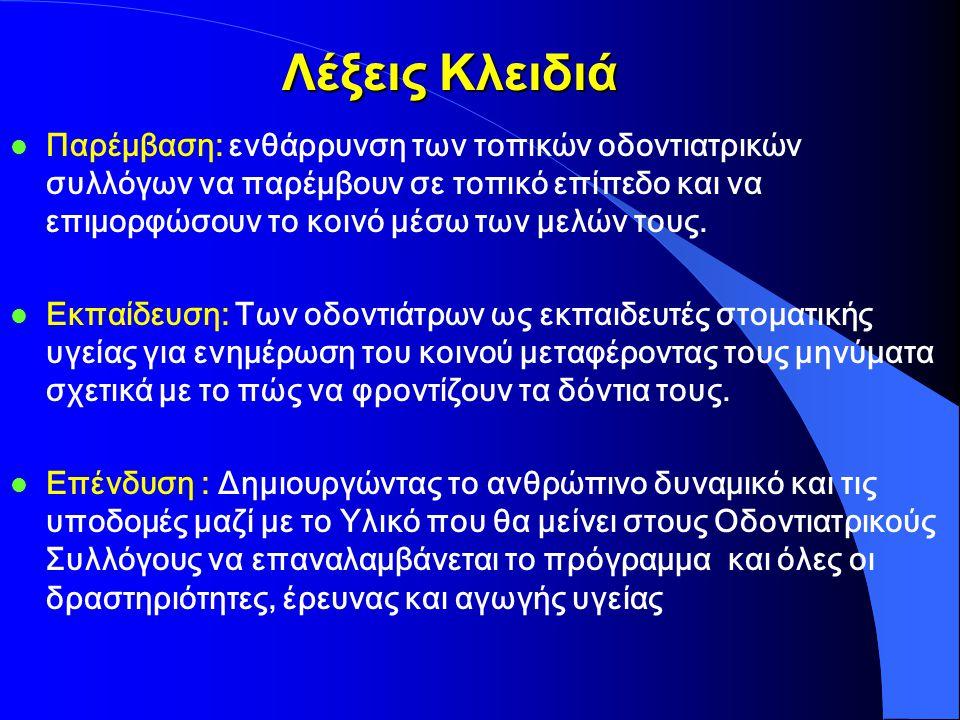 ΠΡΟΓΡΑΜΜΑ ΠΡΟΑΓΩΓΗΣ ΚΑΙ ΚΑΤΑΓΡΑΦΗΣ ΤΗΣ ΣΤΟΜΑΤΙΚΗΣ ΥΓΕΙΑΣ ΤΟΥ ΕΛΛΗΝΙΚΟΥ ΠΛΗΘΥΣΜΟΥ ΣΥΝΕΧΙΣΗ ΤΟΥ ΠΡΟΓΡΑΜΜΑΤΟΣ Δεύτερη Τριετία 2006 - 2009 Συντονιστής Προγράμματος Κωνσταντίνος Ι.
