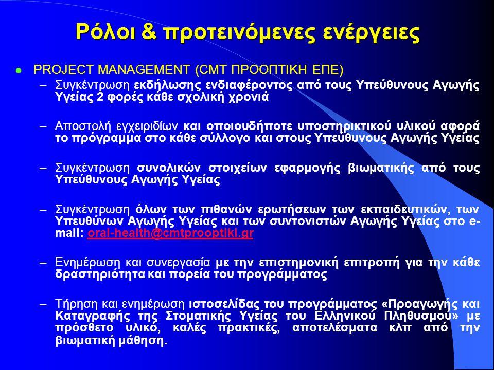 Ρόλοι & προτεινόμενες ενέργειες l PROJECT MANAGEMENT (CMT ΠΡΟΟΠΤΙΚΗ ΕΠΕ) –Συγκέντρωση εκδήλωσης ενδιαφέροντος από τους Υπεύθυνους Αγωγής Υγείας 2 φορέ