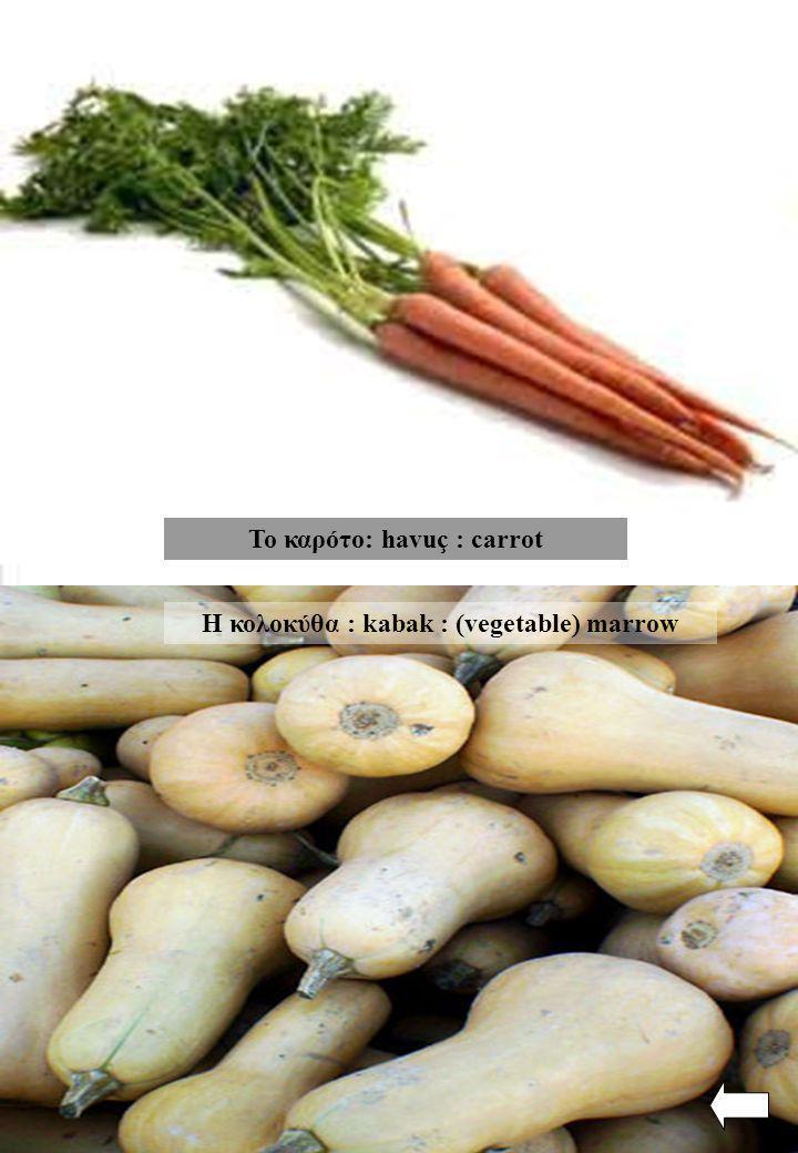 Το καρότο: havuç : carrot Η κολοκύθα : kabak : (vegetable) marrow