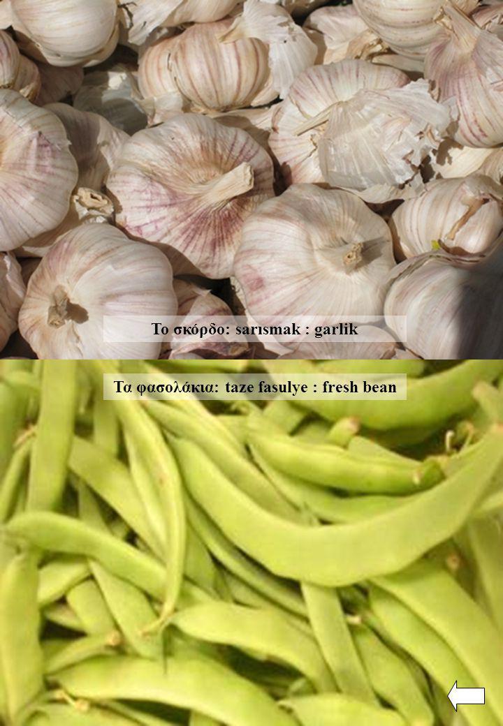 Τα φασολάκια: taze fasulye : fresh bean Το σκόρδο: sarısmak : garlik