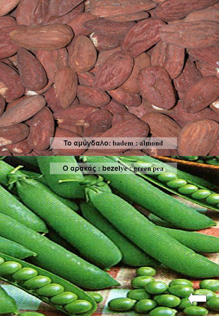 Ο αρακάς : beze lye : green pea Το αμύγδαλο : badem : almond