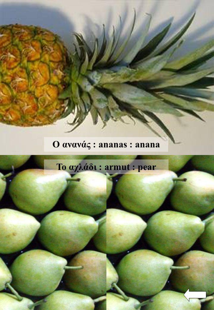 Ο ανανάς : ananas : anana Το αχλάδι : armut : pear