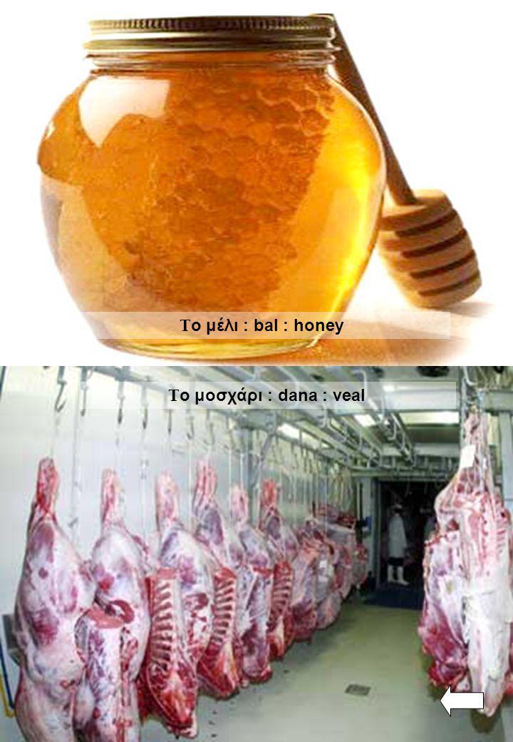 Τ ο μέλι : bal : honey Τ ο μοσχάρι : dana : veal