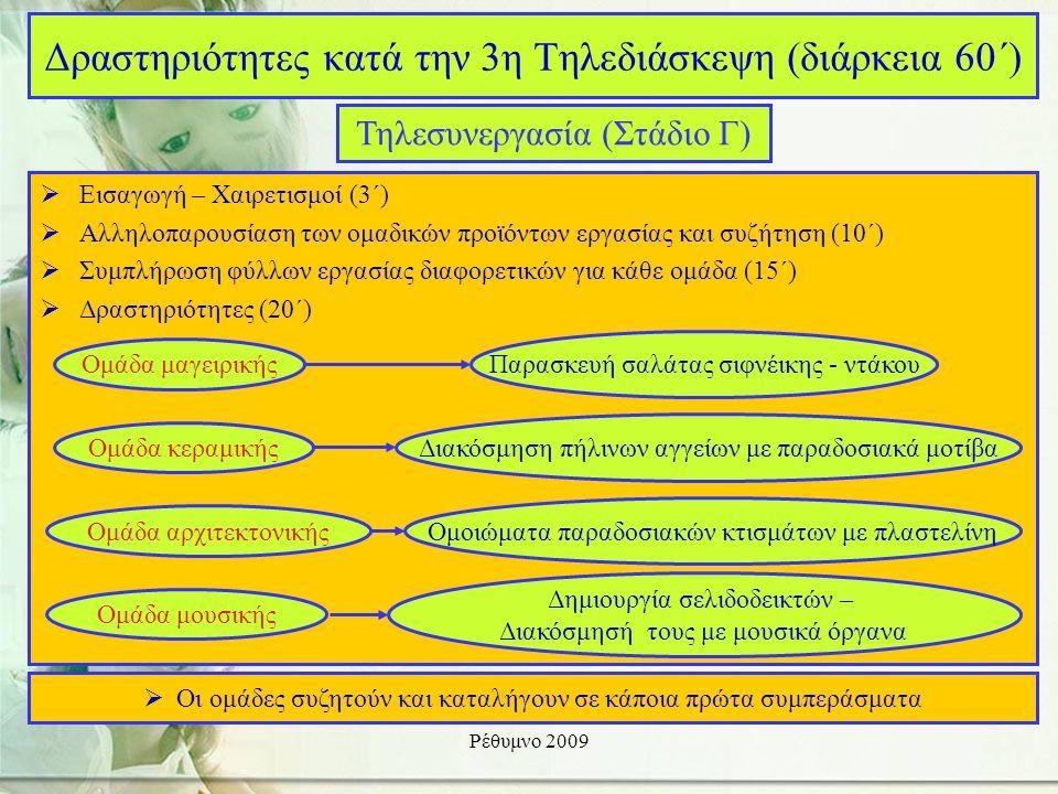 Ρέθυμνο 2009  Εισαγωγή – Χαιρετισμοί (3΄)  Αλληλοπαρουσίαση των ομαδικών προϊόντων εργασίας και συζήτηση (10΄)  Συμπλήρωση φύλλων εργασίας διαφορετικών για κάθε ομάδα (15΄)  Δραστηριότητες (20΄) Δραστηριότητες κατά την 3η Τηλεδιάσκεψη (διάρκεια 60΄) Τηλεσυνεργασία (Στάδιο Γ) Ομάδα μαγειρικής Παρασκευή σαλάτας σιφνέικης - ντάκου Ομάδα κεραμικής Διακόσμηση πήλινων αγγείων με παραδοσιακά μοτίβα Ομάδα αρχιτεκτονικής Ομοιώματα παραδοσιακών κτισμάτων με πλαστελίνη Ομάδα μουσικής Δημιουργία σελιδοδεικτών – Διακόσμησή τους με μουσικά όργανα  Οι ομάδες συζητούν και καταλήγουν σε κάποια πρώτα συμπεράσματα