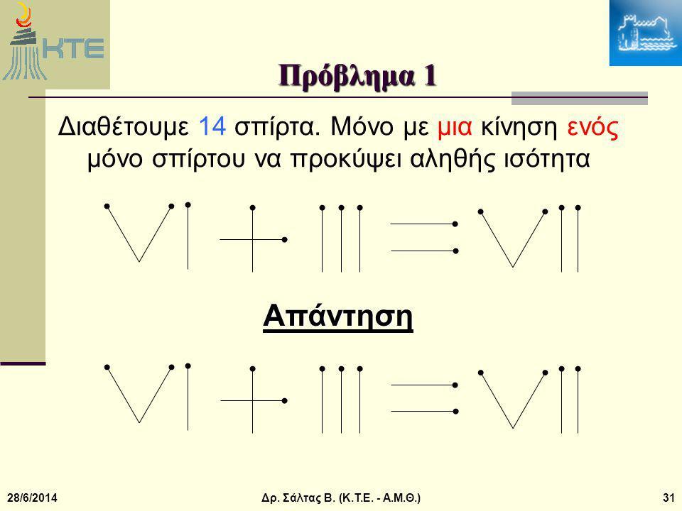 28/6/2014Δρ.Σάλτας Β. (Κ.Τ.Ε. - Α.Μ.Θ.)31 Πρόβλημα 1 Διαθέτουμε 14 σπίρτα.