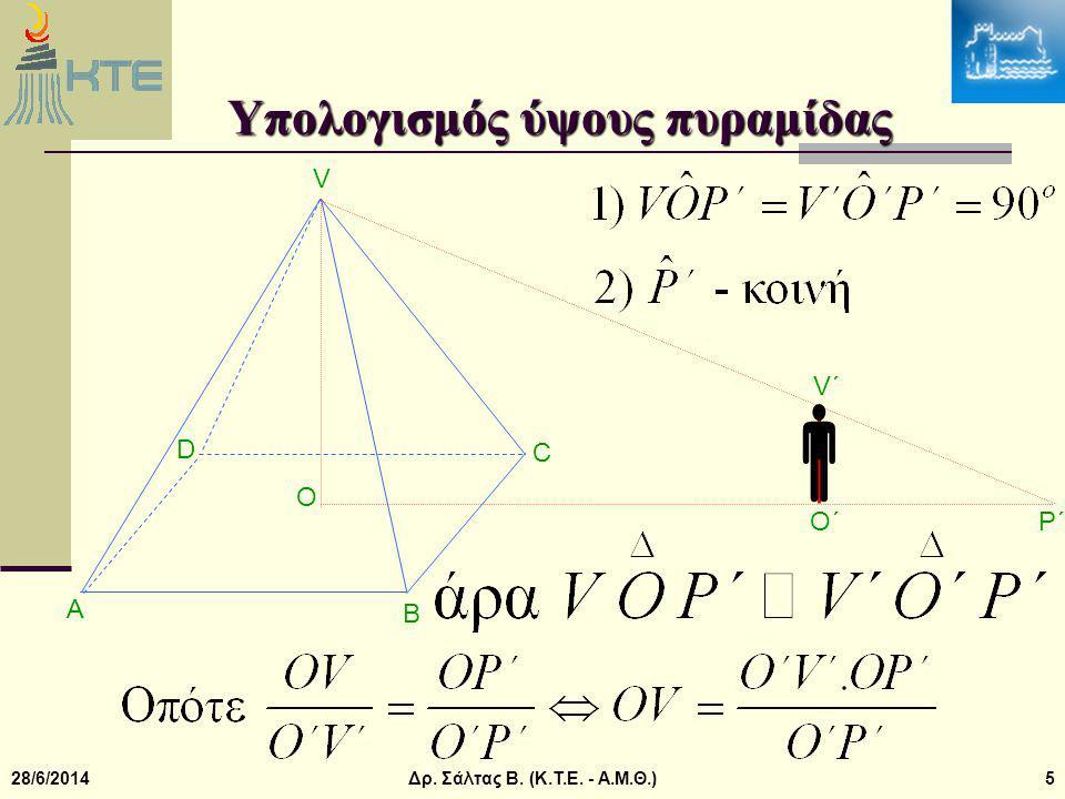 28/6/2014Δρ. Σάλτας Β. (Κ.Τ.Ε. - Α.Μ.Θ.)5 Υπολογισμός ύψους πυραμίδας V B A C O D  V΄V΄ O΄O΄ P΄P΄