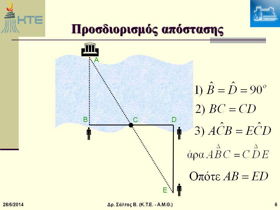28/6/2014Δρ. Σάλτας Β. (Κ.Τ.Ε. - Α.Μ.Θ.)6  Προσδιορισμός απόστασης  D A B C E  