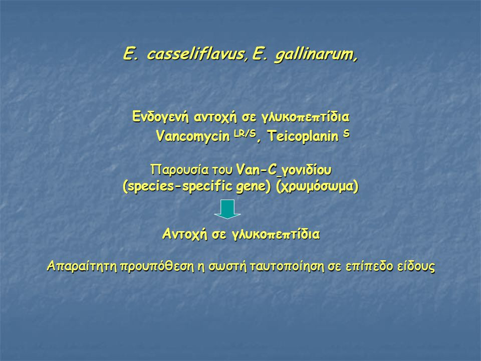 E. casseliflavus, E. gallinarum, Ενδογενή αντοχή σε γλυκοπεπτίδια Vancomycin LR/S, Teicoplanin S Vancomycin LR/S, Teicoplanin S Παρουσία του Van-C γον