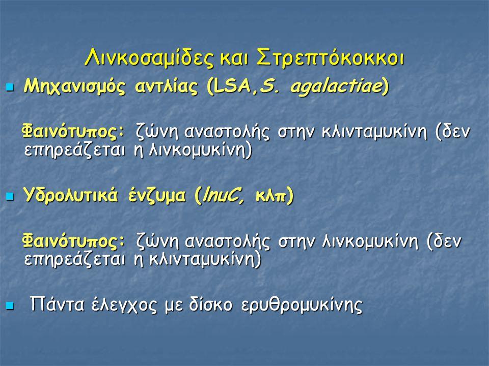 Λινκοσαμίδες και Στρεπτόκοκκοι  Μηχανισμός αντλίας (LSA,S. agalactiae) Φαινότυπος: ζώνη αναστολής στην κλινταμυκίνη (δεν επηρεάζεται η λινκομυκίνη) Φ