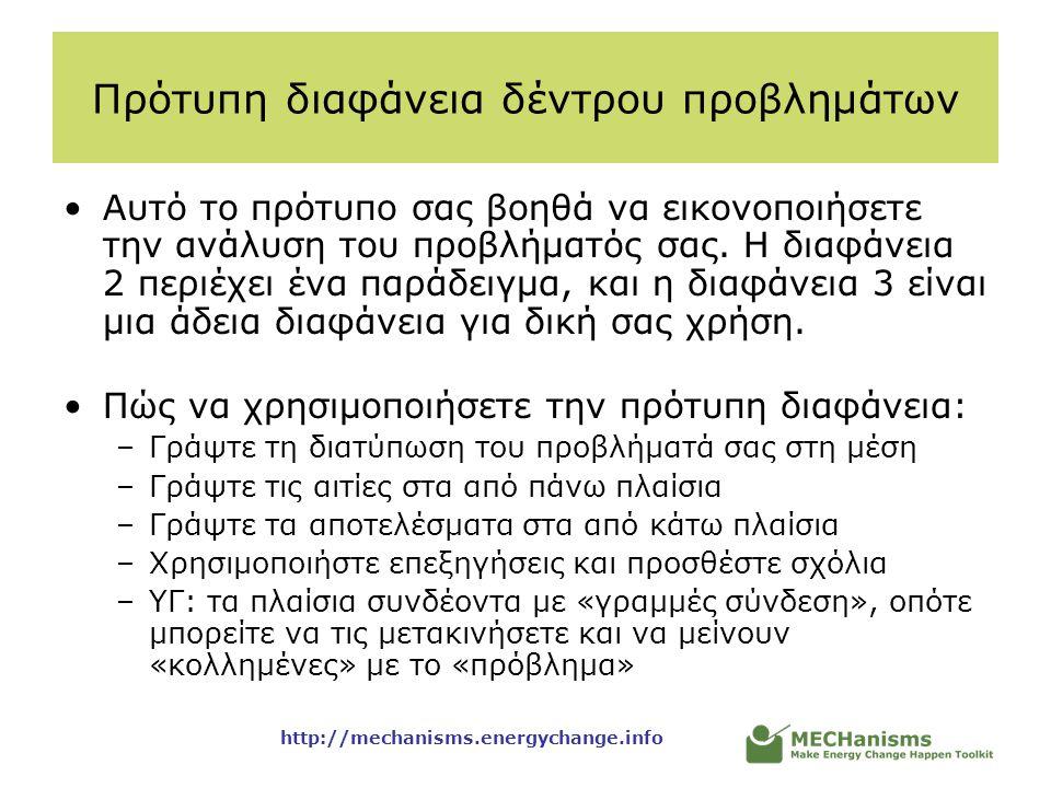 http://mechanisms.energychange.info Πρότυπη διαφάνεια δέντρου προβλημάτων •Αυτό το πρότυπο σας βοηθά να εικονοποιήσετε την ανάλυση του προβλήματός σας