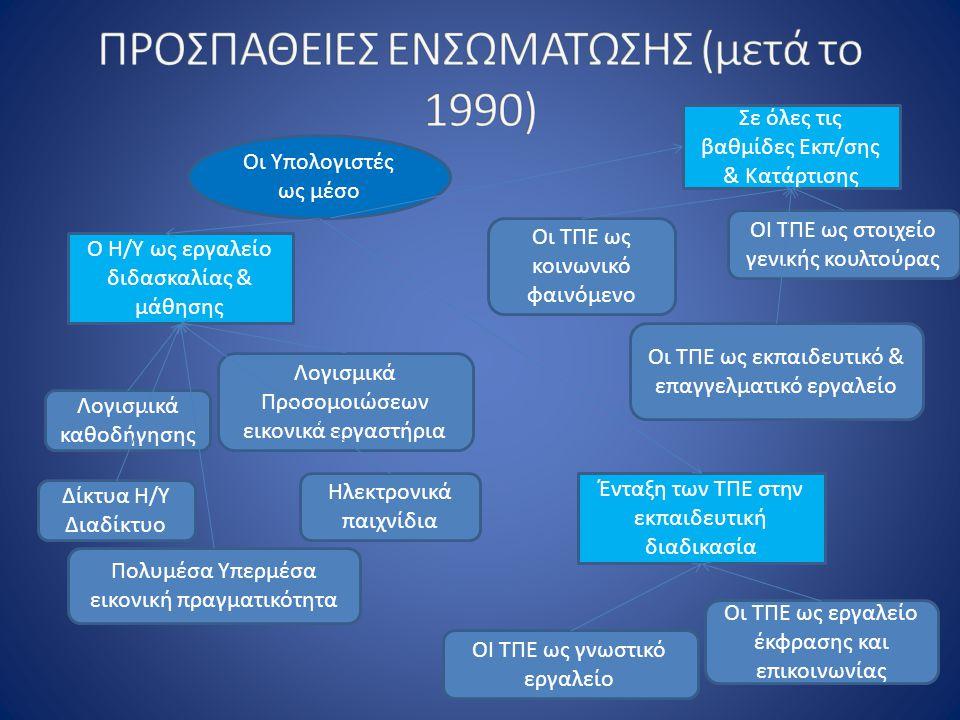 Οι Υπολογιστές ως μέσο Ο Η/Υ ως εργαλείο διδασκαλίας & μάθησης Ένταξη των ΤΠΕ στην εκπαιδευτική διαδικασία Σε όλες τις βαθμίδες Εκπ/σης & Κατάρτισης Λογισμικά καθοδήγησης Λογισμικά Προσομοιώσεων εικονικά εργαστήρια Οι ΤΠΕ ως εργαλείο έκφρασης και επικοινωνίας Δίκτυα Η/Υ Διαδίκτυο ΟΙ ΤΠΕ ως γνωστικό εργαλείο ΟΙ ΤΠΕ ως στοιχείο γενικής κουλτούρας Πολυμέσα Υπερμέσα εικονική πραγματικότητα Ηλεκτρονικά παιχνίδια Οι ΤΠΕ ως κοινωνικό φαινόμενο Οι ΤΠΕ ως εκπαιδευτικό & επαγγελματικό εργαλείο