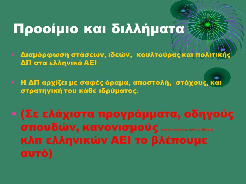 Προοίμιο και διλλήματα •Διαμόρφωση στάσεων, ιδεών, κουλτούρας και πολιτικής ΔΠ στα ελληνικά ΑΕΙ •Η ΔΠ αρχίζει με σαφές όραμα, αποστολή, στόχους, και στρατηγική του κάθε ιδρύματος.