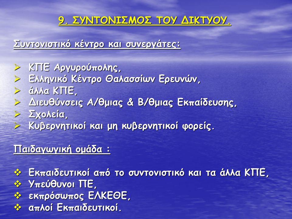 9. ΣΥΝΤΟΝΙΣΜΟΣ ΤΟΥ ΔΙΚΤΥΟΥ. Συντονιστικό κέντρο και συνεργάτες:  ΚΠΕ Αργυρούπολης,  Ελληνικό Κέντρο Θαλασσίων Ερευνών,  άλλα ΚΠΕ,  Διευθύνσεις Α/θ