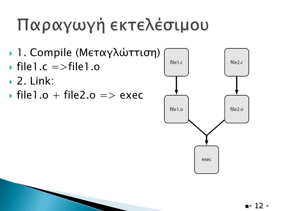  1. Compile (Μεταγλώττιση):  file1.c =>file1.o  2. Link:  file1.o + file2.o => exec  - 12 -