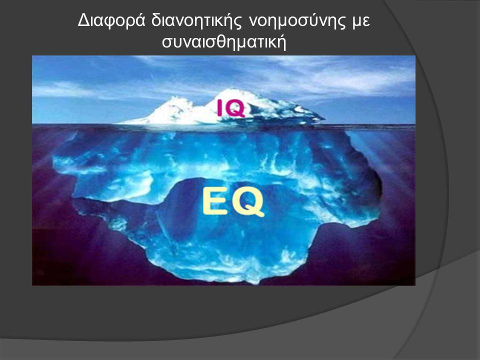 Διαφορά διανοητικής νοημοσύνης με συναισθηματική  Ο δείκτης IQ αναφέρεται στο αριθμητικό, γνωστικό κομμάτι, ενώ ο δείκτης EQ σχετίζεται με τα συναισθ