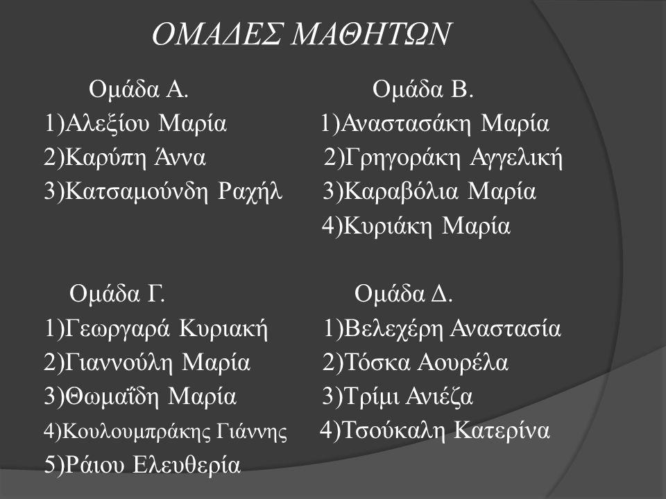 ΟΜΑΔΕΣ ΜΑΘΗΤΩΝ Ομάδα Α. Ομάδα Β. 1)Αλεξίου Μαρία 1)Αναστασάκη Μαρία 2)Καρύπη Άννα 2)Γρηγοράκη Αγγελική 3)Κατσαμούνδη Ραχήλ 3)Καραβόλια Μαρία 4)Κυριάκη