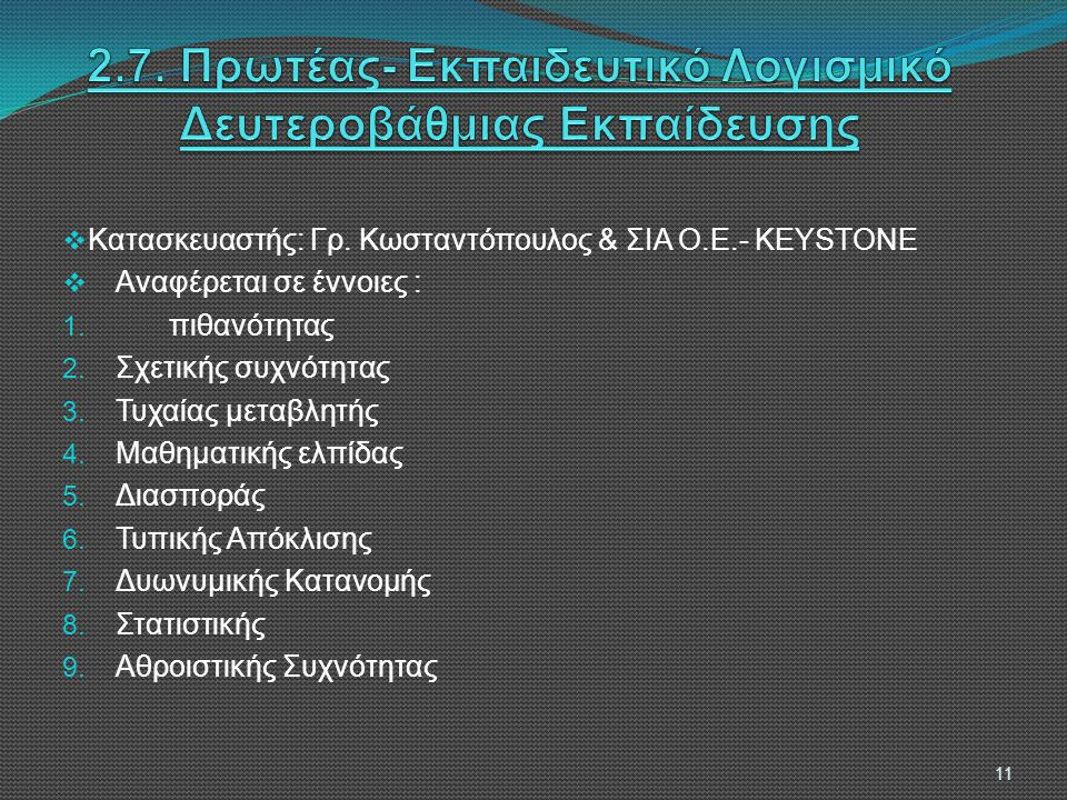  Κατασκευαστής: Γρ.Κωσταντόπουλος & ΣΙΑ Ο.Ε.- KEYSTONE  Αναφέρεται σε έννοιες : 1.