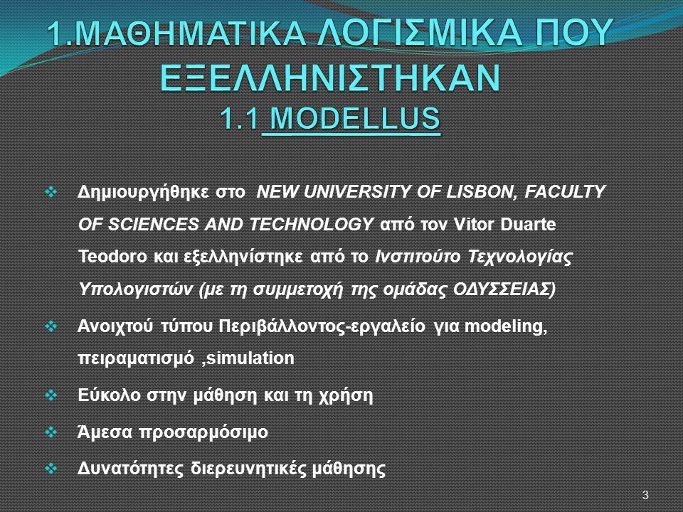  Δημιουργήθηκε στο NEW UNIVERSITY OF LISBON, FACULTY OF SCIENCES AND TECHNOLOGY από τον Vitor Duarte Teodoro και εξελληνίστηκε από το Ινστιτούτο Τεχνολογίας Υπολογιστών (με τη συμμετοχή της ομάδας ΟΔΥΣΣΕΙΑΣ)  Ανοιχτού τύπου Περιβάλλοντος-εργαλείο για modeling, πειραματισμό,simulation  Εύκολο στην μάθηση και τη χρήση  Άμεσα προσαρμόσιμο  Δυνατότητες διερευνητικές μάθησης 3