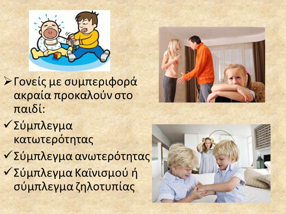  Γονείς με συμπεριφορά ακραία προκαλούν στο παιδί:  Σύμπλεγμα κατωτερότητας  Σύμπλεγμα ανωτερότητας  Σύμπλεγμα Καϊνισμού ή σύμπλεγμα ζηλοτυπίας