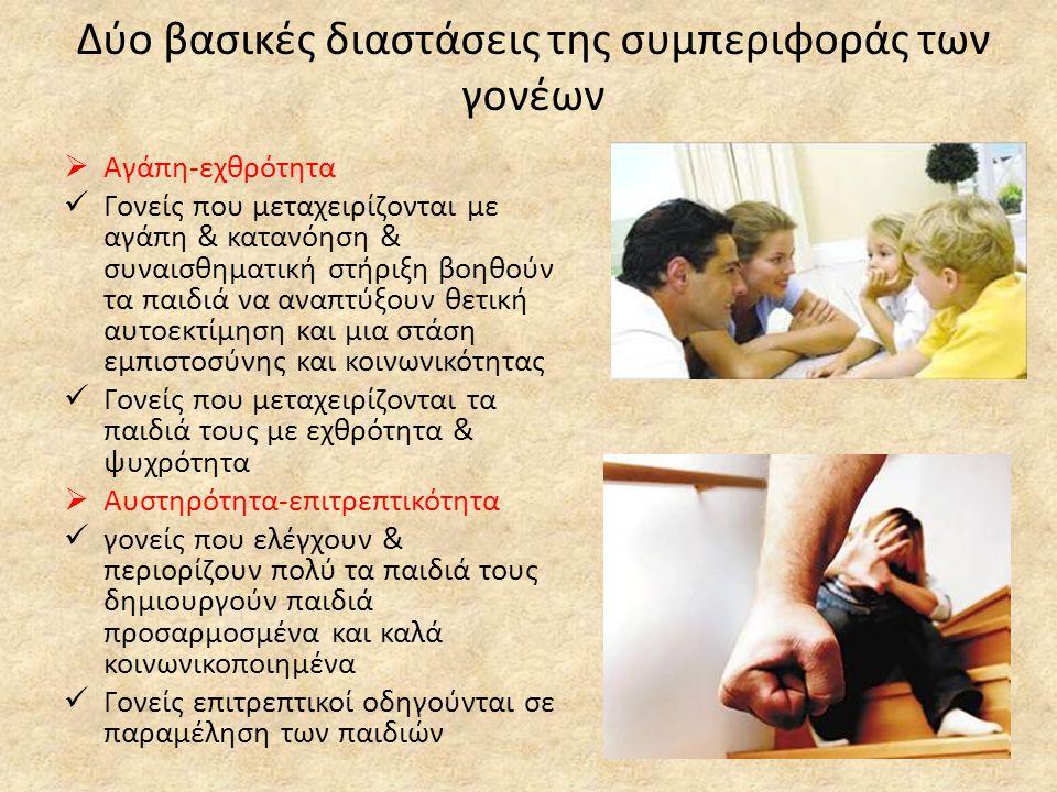 Δύο βασικές διαστάσεις της συμπεριφοράς των γονέων  Αγάπη-εχθρότητα  Γονείς που μεταχειρίζονται με αγάπη & κατανόηση & συναισθηματική στήριξη βοηθούν τα παιδιά να αναπτύξουν θετική αυτοεκτίμηση και μια στάση εμπιστοσύνης και κοινωνικότητας  Γονείς που μεταχειρίζονται τα παιδιά τους με εχθρότητα & ψυχρότητα  Αυστηρότητα-επιτρεπτικότητα  γονείς που ελέγχουν & περιορίζουν πολύ τα παιδιά τους δημιουργούν παιδιά προσαρμοσμένα και καλά κοινωνικοποιημένα  Γονείς επιτρεπτικοί οδηγούνται σε παραμέληση των παιδιών