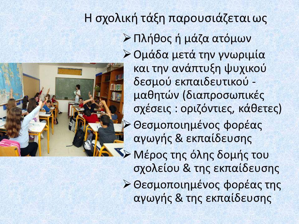 Η σχολική τάξη παρουσιάζεται ως  Πλήθος ή μάζα ατόμων  Ομάδα μετά την γνωριμία και την ανάπτυξη ψυχικού δεσμού εκπαιδευτικού - μαθητών (διαπροσωπικές σχέσεις : οριζόντιες, κάθετες)  Θεσμοποιημένος φορέας αγωγής & εκπαίδευσης  Μέρος της όλης δομής του σχολείου & της εκπαίδευσης  Θεσμοποιημένος φορέας της αγωγής & της εκπαίδευσης