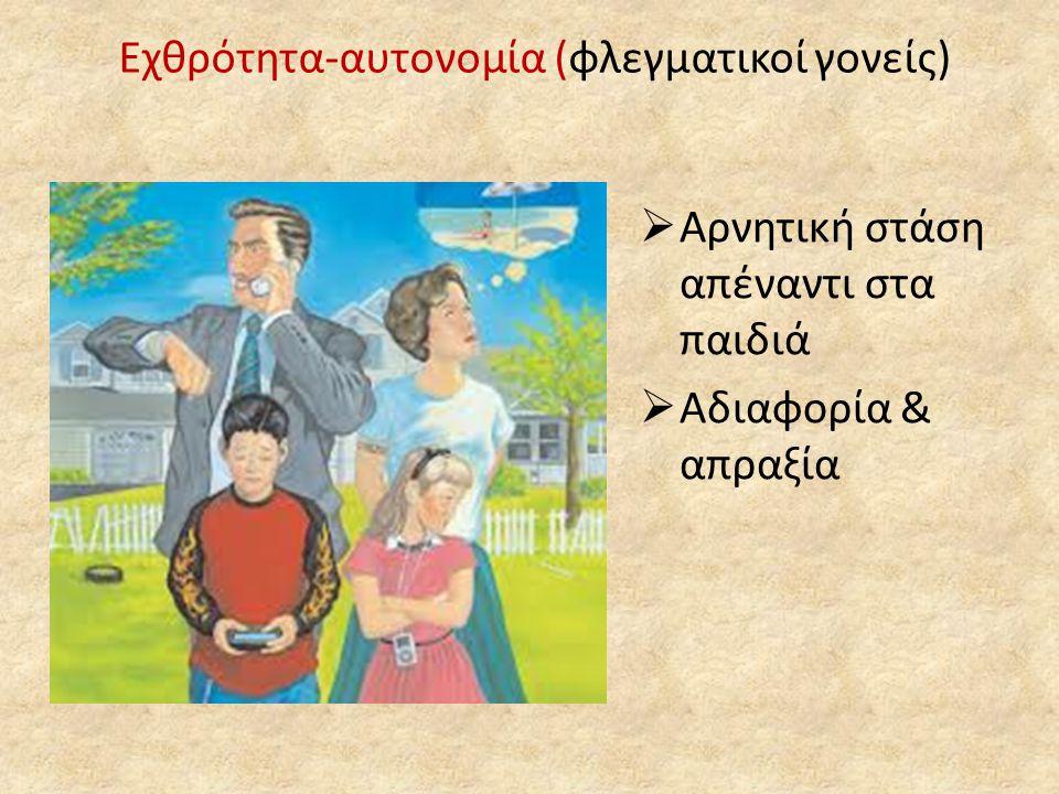 Οικογενειακή συνοχή  Οι γονείς αυτής της οικογένειας:  Εμπιστεύονται την κρίση των παιδιών τους  Τους δίνουν πρωτοβουλίες  Προωθούν το δημοκρατικό σύστημα λήψης αποφάσεων  Υποστηρίζουν το διάλογο  Εφαρμόζουν με συνέπεια μια συγκεκριμένη συμπεριφορά στα παιδιά τους  Συμμετέχουν στην καθημερινή ζωή των παιδιών τους  Επικοινωνούν με το σχολείο