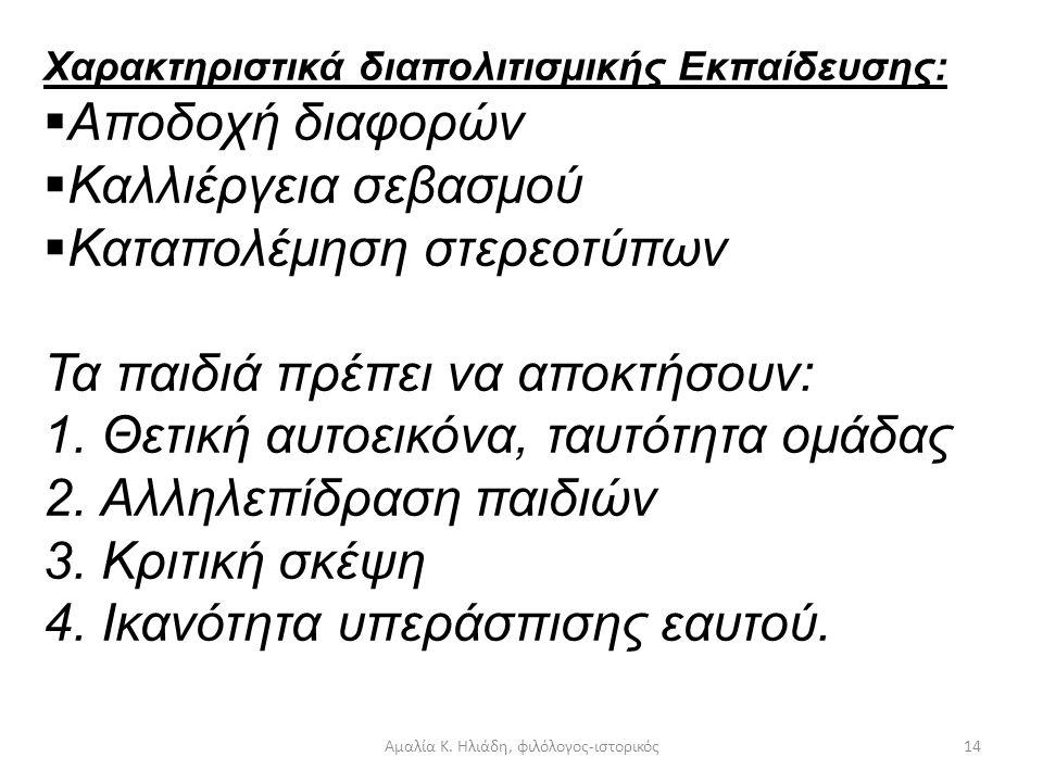 Αμαλία Κ. Ηλιάδη, φιλόλογος-ιστορικός13 Β) Πρακτική εφαρμογή: Διαγραμματική αποτύπωση. Βασικές παραδοχές Διαπολιτισμικής Εκπαίδευσης:  Ισότητα ευκαιρ