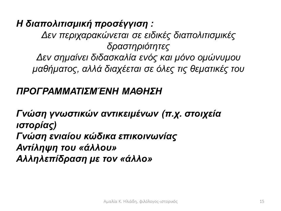 Αμαλία Κ. Ηλιάδη, φιλόλογος-ιστορικός14 Χαρακτηριστικά διαπολιτισμικής Εκπαίδευσης:  Αποδοχή διαφορών  Καλλιέργεια σεβασμού  Καταπολέμηση στερεοτύπ