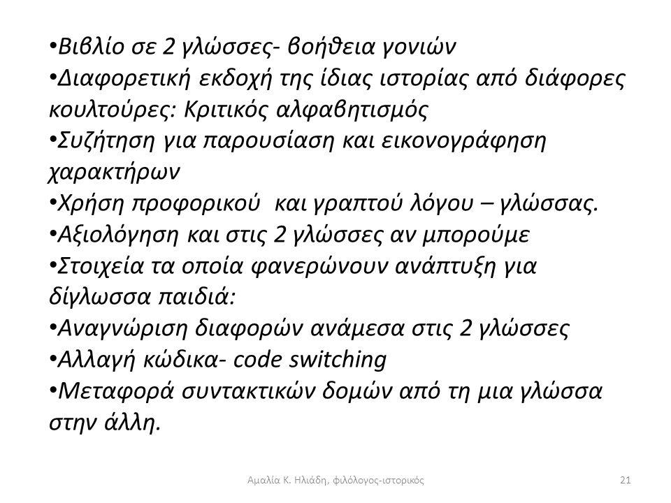 Αμαλία Κ. Ηλιάδη, φιλόλογος-ιστορικός20 Εισηγήσεις δραστηριοτήτων εκ μέρους του δασκάλου: Συνεργασία με γονείς: •Καλεί ένα δίγλωσσο γονιό •Δείξη ενδια