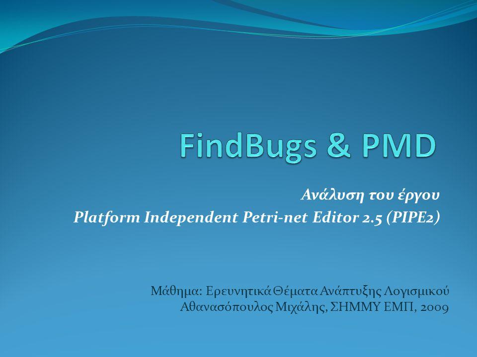 Ανάλυση του έργου Platform Independent Petri-net Editor 2.5 (PIPE2) Μάθημα: Ερευνητικά Θέματα Ανάπτυξης Λογισμικού Αθανασόπουλος Μιχάλης, ΣΗΜΜΥ ΕΜΠ, 2009