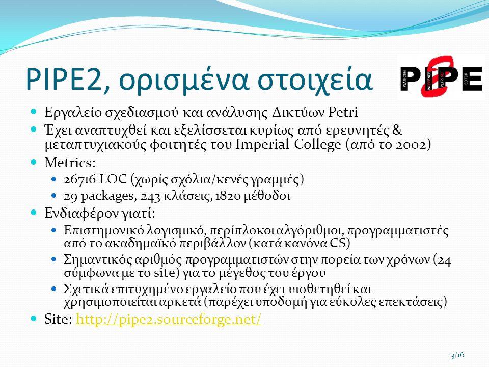 PIPE2, ορισμένα στοιχεία  Εργαλείο σχεδιασμού και ανάλυσης Δικτύων Petri  Έχει αναπτυχθεί και εξελίσσεται κυρίως από ερευνητές & μεταπτυχιακούς φοιτητές του Imperial College (από το 2002)  Metrics:  26716 LOC (χωρίς σχόλια/κενές γραμμές)  29 packages, 243 κλάσεις, 1820 μέθοδοι  Ενδιαφέρον γιατί:  Επιστημονικό λογισμικό, περίπλοκοι αλγόριθμοι, προγραμματιστές από το ακαδημαϊκό περιβάλλον (κατά κανόνα CS)  Σημαντικός αριθμός προγραμματιστών στην πορεία των χρόνων (24 σύμφωνα με το site) για το μέγεθος του έργου  Σχετικά επιτυχημένο εργαλείο που έχει υιοθετηθεί και χρησιμοποιείται αρκετά (παρέχει υποδομή για εύκολες επεκτάσεις)  Site: http://pipe2.sourceforge.net/http://pipe2.sourceforge.net/ 3/16