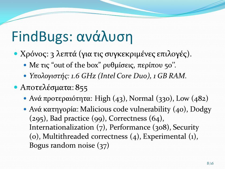 "FindBugs: ανάλυση  Χρόνος: 3 λεπτά (για τις συγκεκριμένες επιλογές).  Με τις ""out of the box"" ρυθμίσεις, περίπου 50''.  Υπολογιστής: 1.6 GHz (Intel"